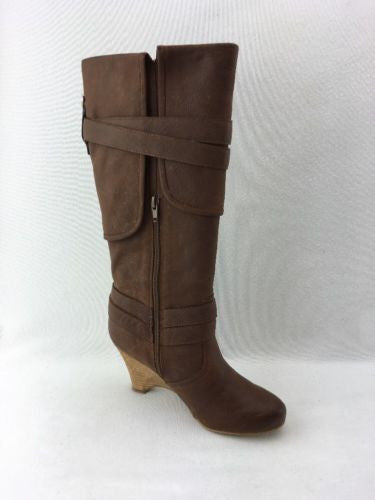 374e4ed50b2 ... Naughty Monkey Park Avenue Tall Ladies Wedge Boots Tan Leather Size 6  RH7266 ...