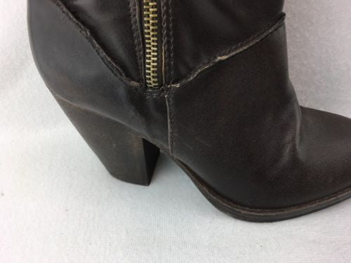 62284fe677a ... London Rebel Brown Synthetic Zip Up Knee High Boots Size 6M RH 9085 ...