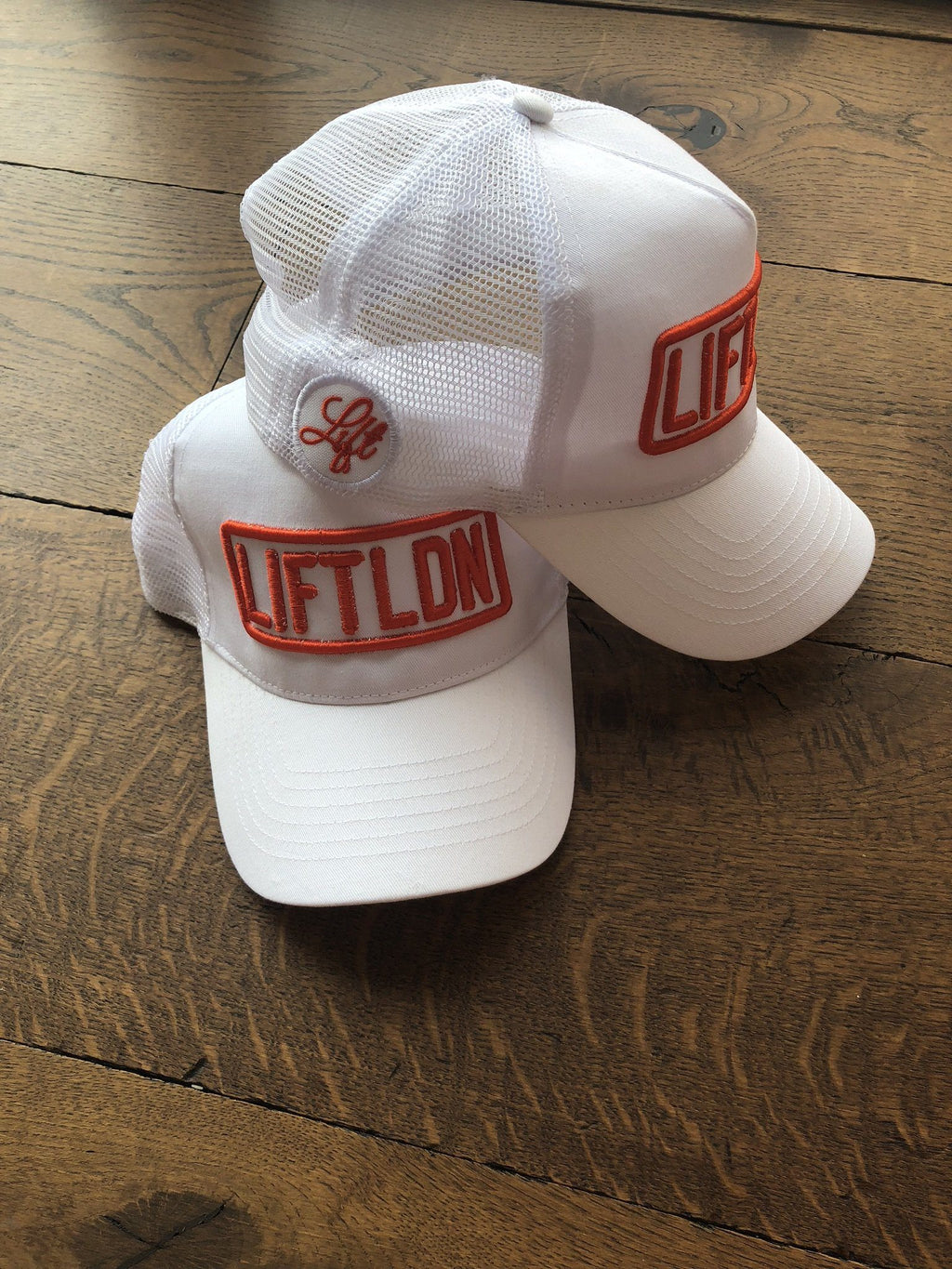 White Cap with Orange Logo 3D LIFTLDN Caps - LIFT-IT Worldwide