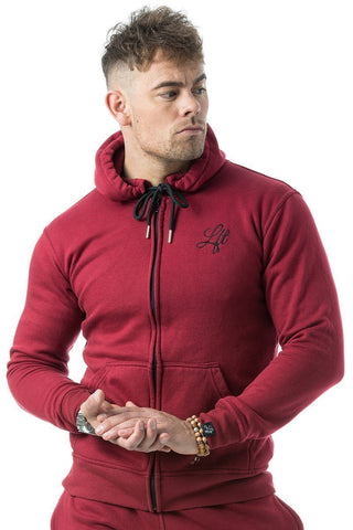 Couture Tracksuit Top Zipped Hoodie Burgundy - Pre order for dispatch 22nd Sept