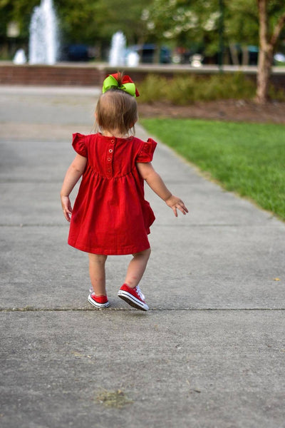 Red Pearl with Pockets - Size 6m, 12m, 18m