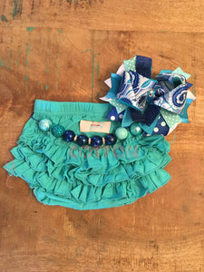 Turquoise tRuffles Bloomers - Size 3m, 12m, 18m, 2t, 4t