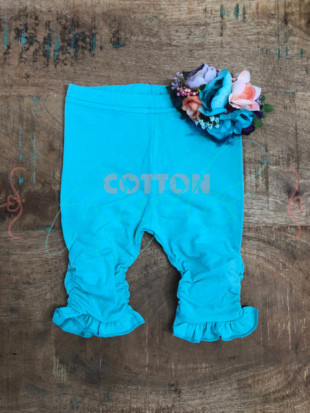 Turquoise Ruched Ruffle Capris