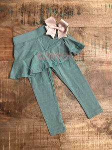 Service Green Skirted Leggings - Size 18m, 4t, 6, 10