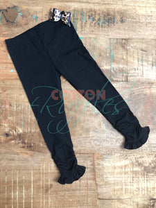 Black Ruched Ruffle Leggings - Size 3m, 6m