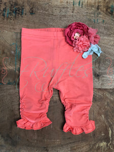 Coral Ruched Ruffle Capris