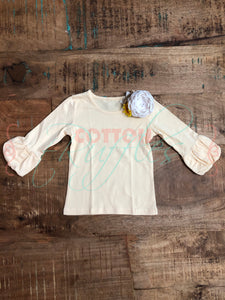 Buttercream Puff Sleeve Top - Size 2t