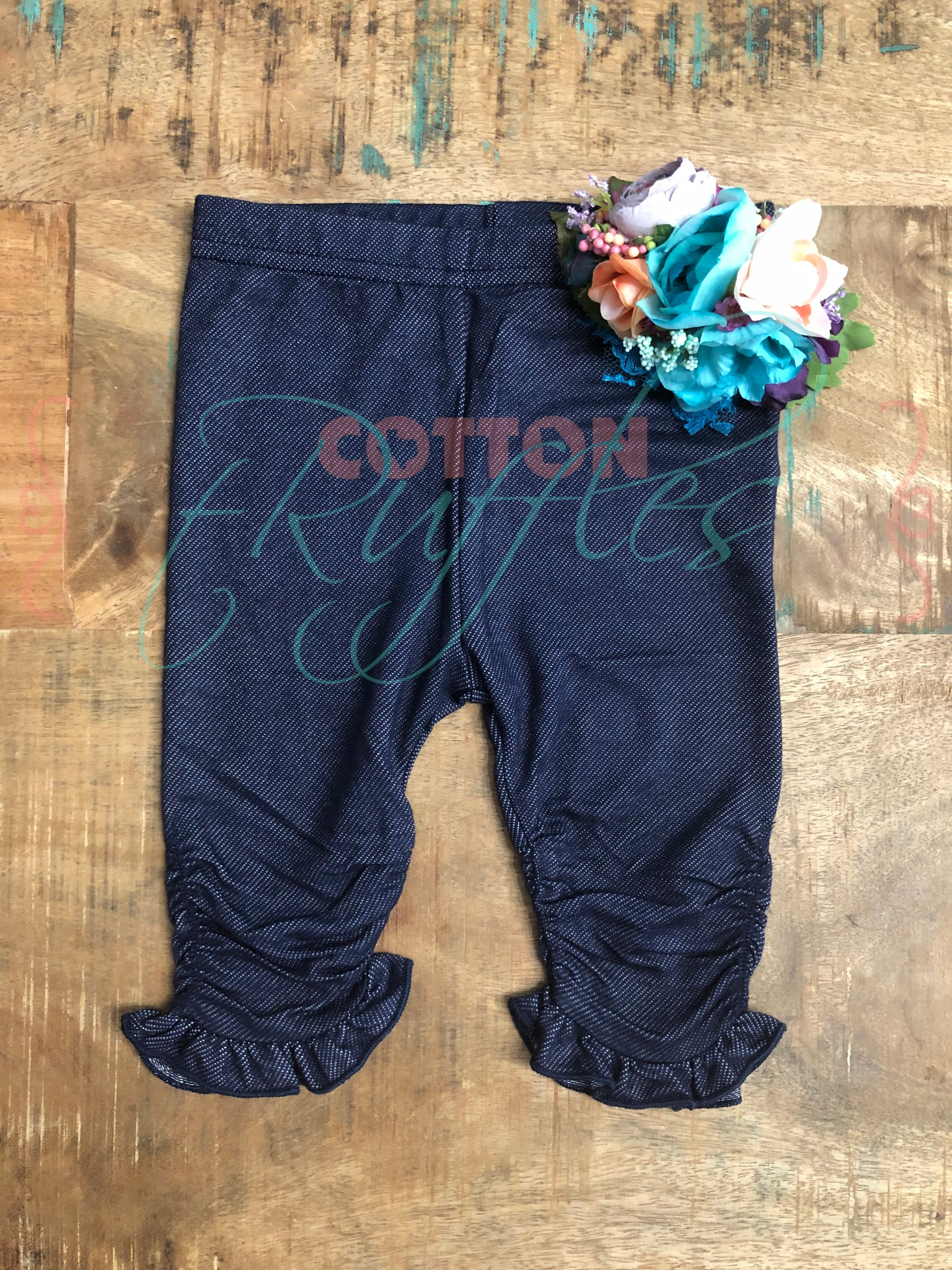 Denim Ruched Ruffle Capris - 18m, 4t, 6, 10