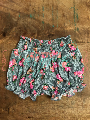 Gray Floral Bubble Shorts - Size 6m, 12m, 18m, 2t