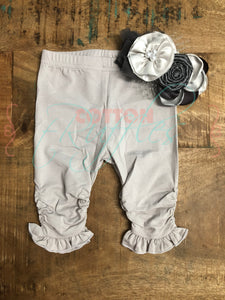 Soft Gray Ruched Ruffle Capris - Size 18m
