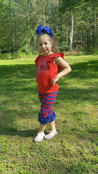 Red & Royal Stripe Icing Capris - Size 12m, 18m, 2t