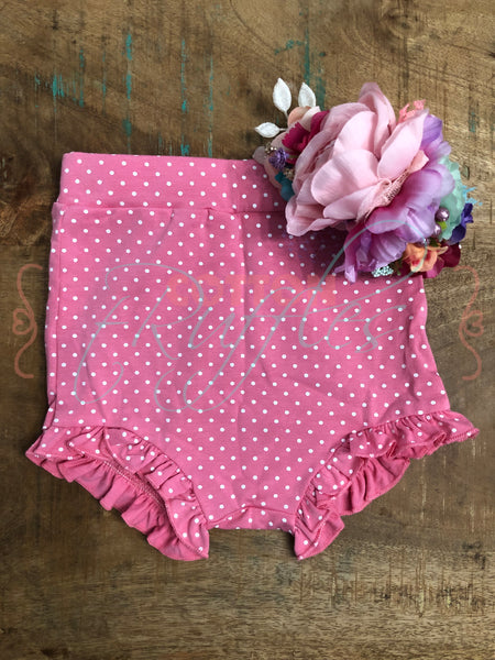 Pink Polka Dots High Rise tRuffle Shorties