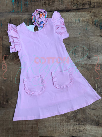 Pink Flutter Pocket Dress - Size 2t, 4t