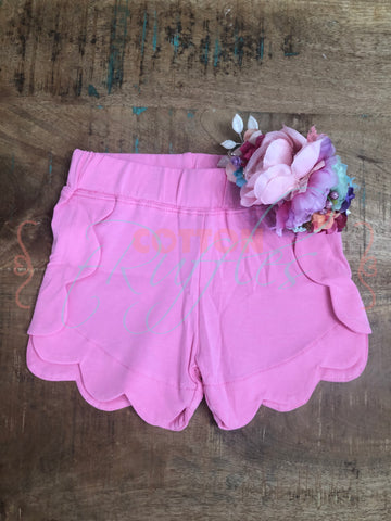Poppin Pink Scalloped Short - Size 4t, 6