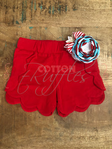 Poppy Red Scalloped Short