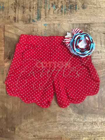 Red Polka Dot Scalloped Short