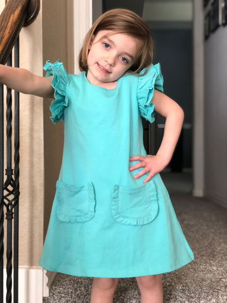 Turquoise Flutter Pocket Dress - Size 2t, 4t
