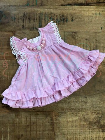 Pink Chambray Helen Dress includes matching Bloomers - Size 6m