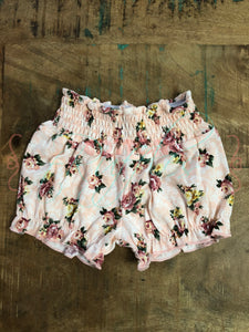 Peach Floral Bubble Shorts - Size 6m, 18m