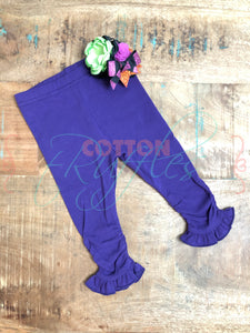 Purple Ruched Ruffle Leggings - Size 3m, 6m, 12m