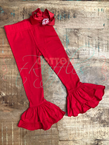 Red Double Ruffle Leggings - Size 4t