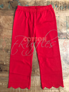 Red Scalloped Full Length Bottoms