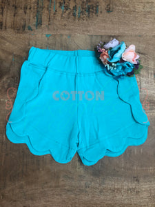 Turquoise Scalloped Short