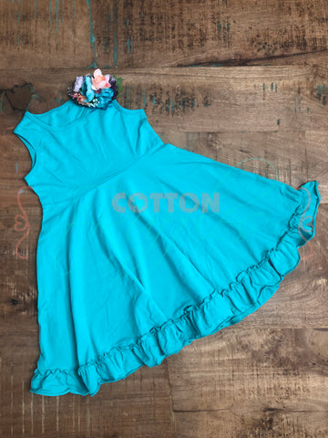 Turquoise Sleeveless Twirling Helen Dress