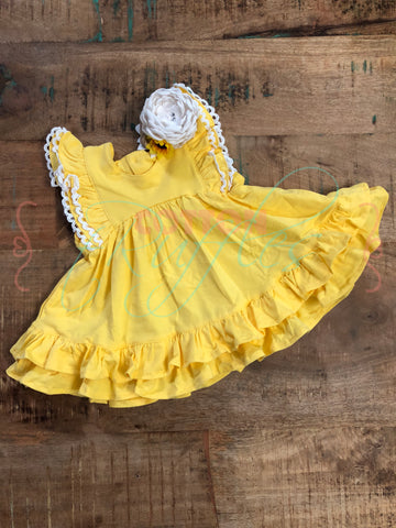 Lemon Twirling Helen Dress - Size 12m