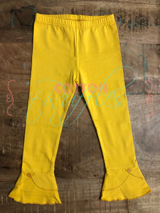 Mustard Unraveled Full Length Ruffle Bottoms