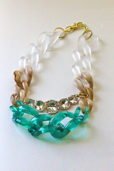 Blended Chain Crystal Statement Necklace