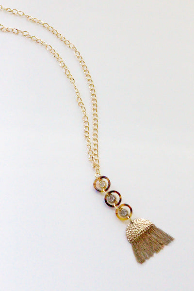 Tortoise Shell Gold Tassel Pendant Necklace