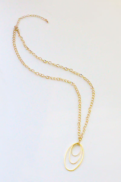 Gold Trio Circle Pendant Necklace