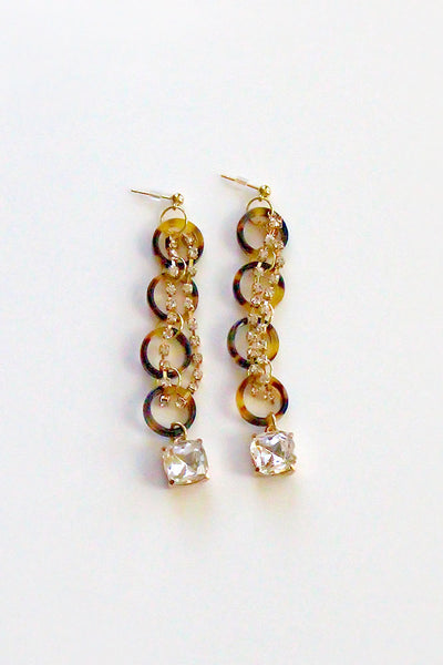 Tortoise Shell Diamond Stone Earrings