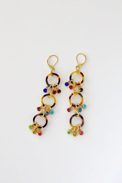 Tortoise Shell Multi-Color Crystal Earrings
