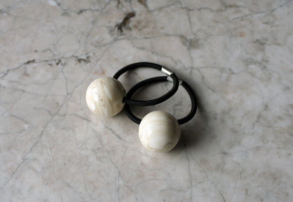 White/Cream Swirl Bauble Ponytail Holder, Accessory, Handmade