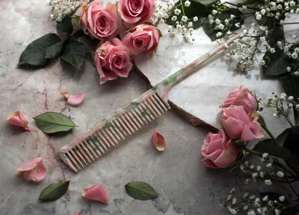 Pink/Green Granite Rat Tail Styling Comb, Full Size, Handmade, Unisex