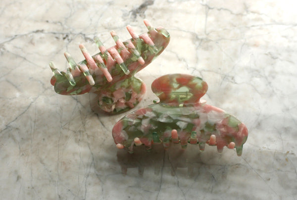 Pink/Green Granite Hair Claw, Accessory, Handmade
