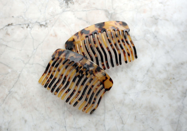 Golden Tortoise Shell Swirl Side Comb, Accessory, Handmade