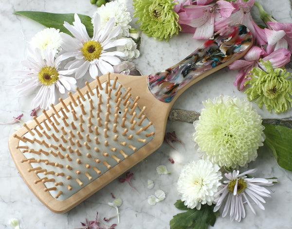 Pink Abstract Wood Bristle Paddle Brush, Round Handle, Handmade