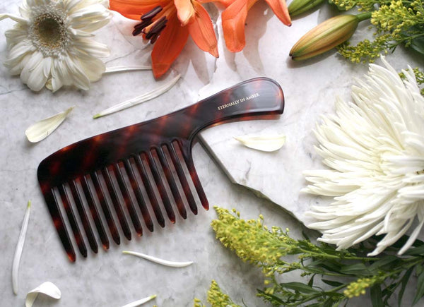 Brown Stripes Shampoo Comb, Full Size, Handmade