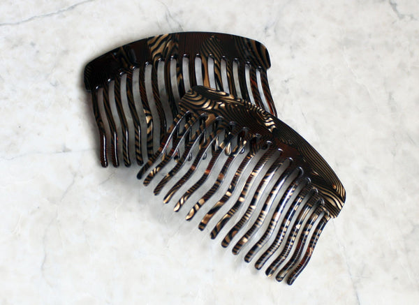 Black/Gold Swirl Side Comb, Accessory, Handmade