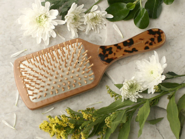 Tortoise Shell Granite Wood Bristle Paddle Brush, Round Handle, Handmade