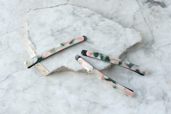 Pink/Green Granite Bobby Pin Set