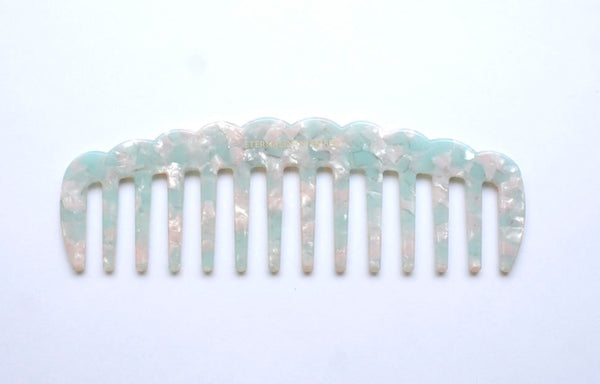 Icy Blue Granite Scallop Wide Tooth Comb, Handmade