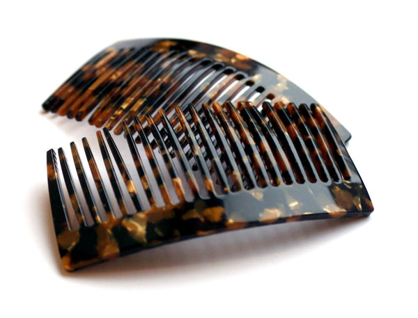 Black/Gold Granite Side Comb, Handmade