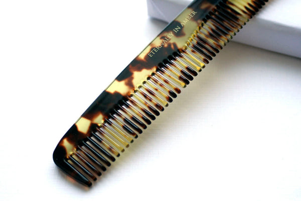 Tortoise Shell Fine Tooth Styling Comb, Travel Size, Handmade