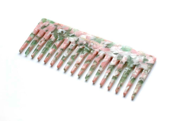 Pink/Green Granite Wide Tooth Comb, Full Size, Handmade
