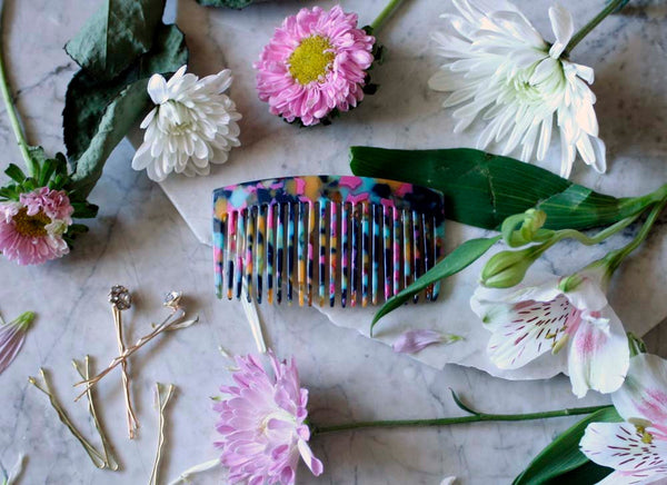 Rainbow Side Comb, Handmade