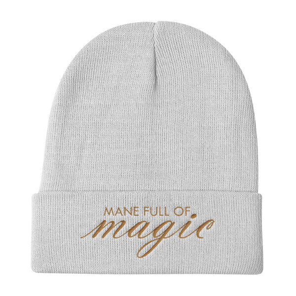 Mane Full Of Magic Knit Beanie, Gold Text, Multiple Colors